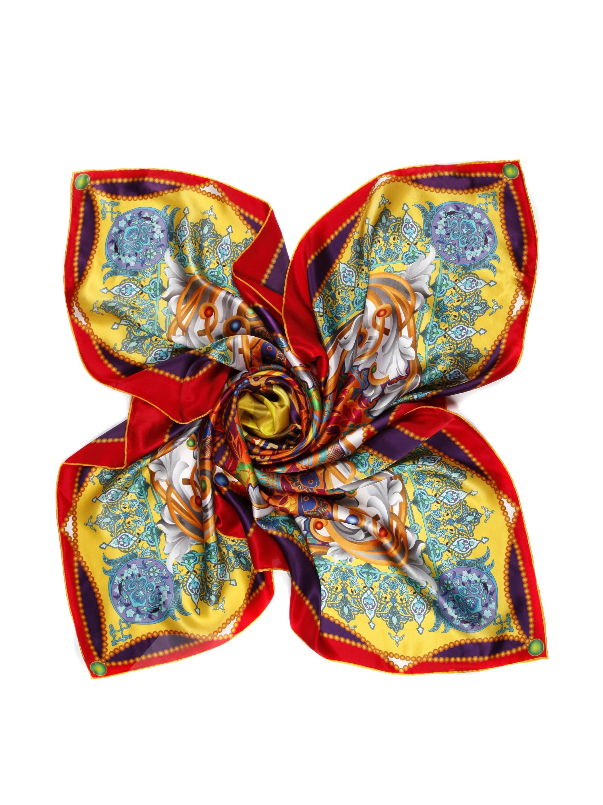 Fancy Orange Flower With Beads Pattern Beautiful Square Silk Scarf