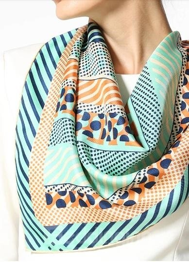 Classic Light Green Dots and Strap Design Silk Beautiful Square Scarf