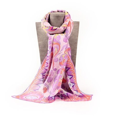 Light Purple Flower and Clouds Pattern Mulberry Silk Blue Long Scarf