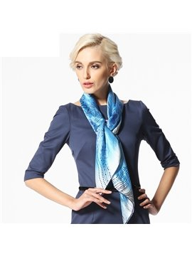 Beautiful Blue Flower and Spot Pattern Beautiful Silk Square Scarf