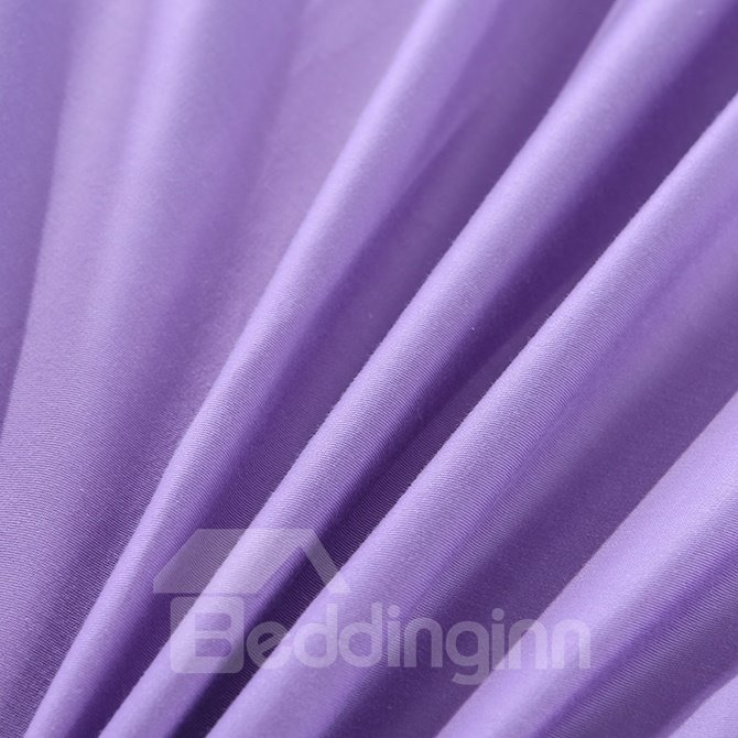 Noble Romantic Pure Purple 4-Piece Cotton Duvet Cover Sets