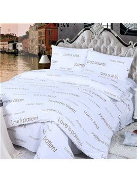Stylish Letter Design 4-Piece Cotton Duvet Cover Sets