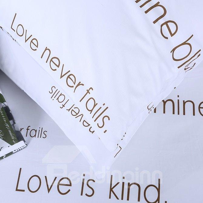 Stylish Letter Design 4-Piece Cotton Duvet Cover Sets