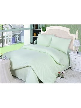 Refreshing Pure Green Comfy Cotton 4-Piece Duvet Cover Sets