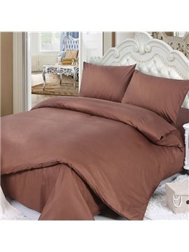100% Cotton Solid Brown 4-Piece Duvet Cover Sets