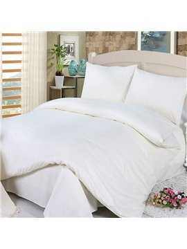 Simple Solid Color Design White 4-Piece Duvet Cover Sets