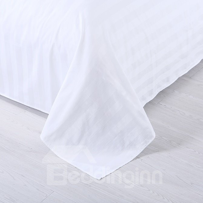 Concise Classical White Stripe Solid Color 4-Piece Duvet Cover Sets