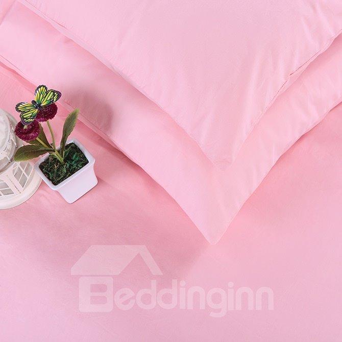 Handy Zipper Design Adorable Solid Pink 4-Piece Duvet Cover Sets