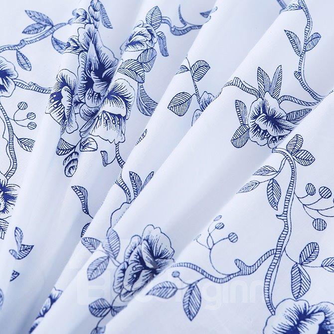 Fresh Pastoral Blue Flowers Print 4-Piece Cotton Duvet Cover Sets