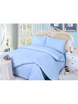 Pure Sky Blue 4-Piece Cotton Duvet Cover Sets with Zipper