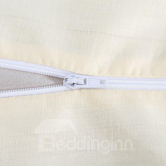 Chic Yellow Stripe 100% Cotton 4-Piece Duvet Cover Sets