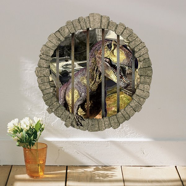 Wonderful Dinosaur Locked up Behind Bars Removable 3D Wall Sticker