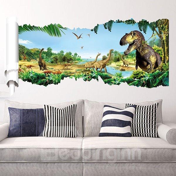 Fantastic jurassic park dinosaur removable 3d wall sticker for Nice ideas dinosaur decals for walls