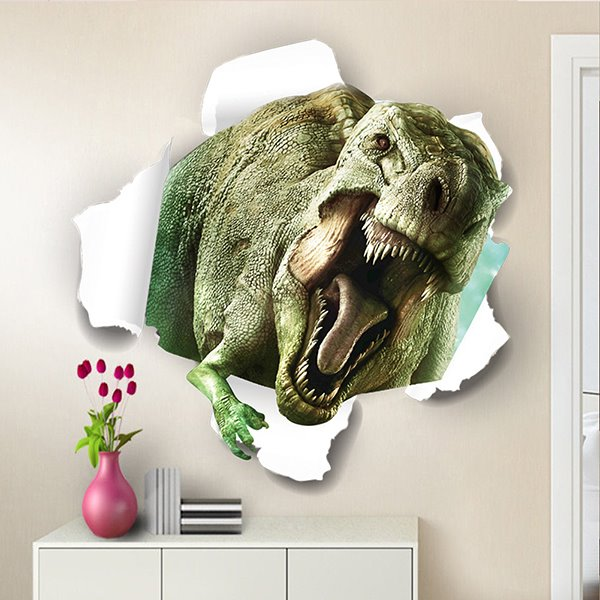 Marvelous Dinosaur Breaking Through Walls Removable 3D Wall Sticker