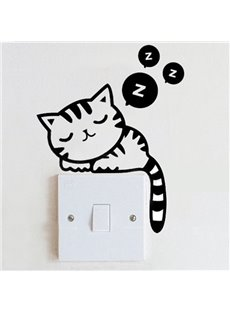 Adorable Dozing Kitten Light Switch Removable Wall Sticker