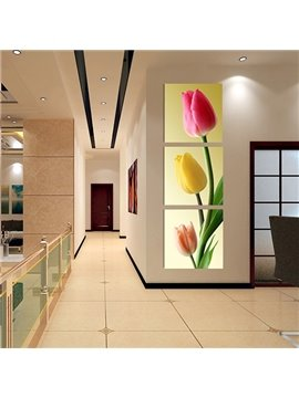 Modern Colorful Tulip Pattern 3-Panels Frameless Wall Art Prints