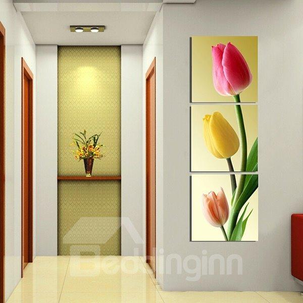 Modern Colorful Tulip Pattern 3-Panels Frameless Wall Art Prints