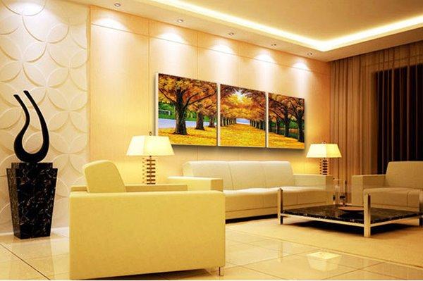 Fantastic Walk of Golden Tree Leaves 3-Panel Frameless Wall Art Prints