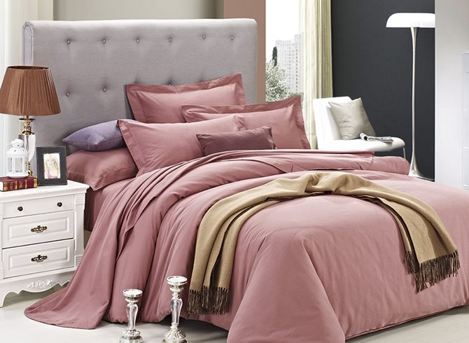 Simple Solid Color Style Pink 4-Piece Duvet Cover Sets