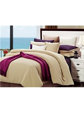 Camel and Purple Joint-color 4-Piece Cotton Duvet Cover Sets