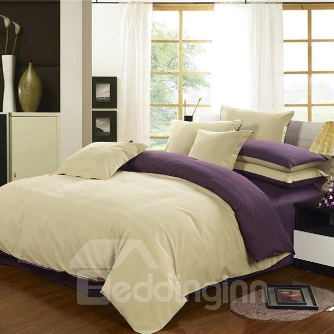 Camel and Purple Joint-color 4-Piece Cotton Duvet Cover Sets