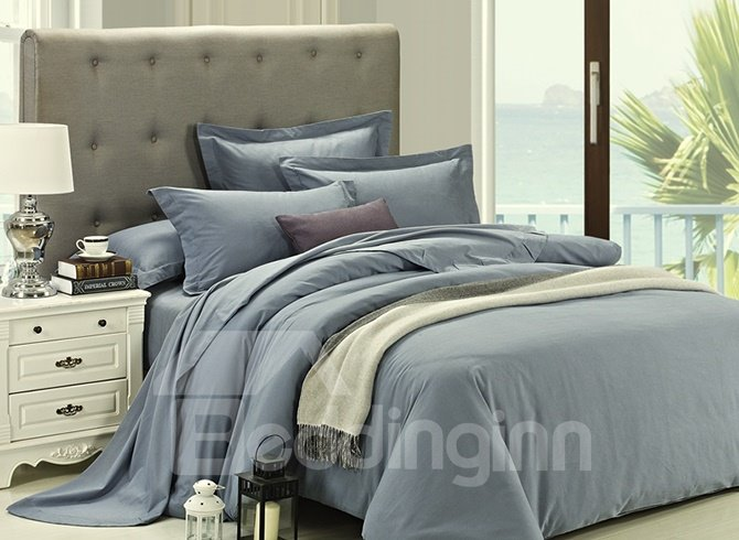 Grazioso Solid Gray 4-Piece Cotton Duvet Cover Sets