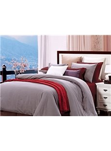 Silver Gray and Wine Red Color Joint 4-Piece Duvet Cover Sets