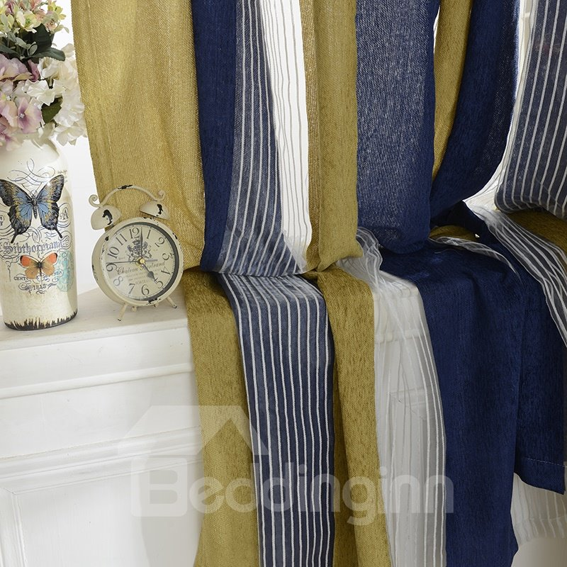 Stylish Stripes Light Blocking Double Pinch Pleat Curtain