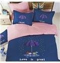 Umbrella Pattern Family Love 4-Piece Duvet Cover Set
