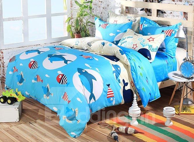 Sea World Cute Little Sharks Pattern Kids Cotton Duvet Cover Set