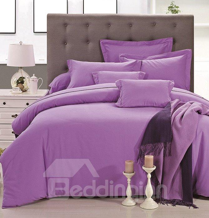 Elegant Noble Pure Purple 4-Piece Duvet Cover Sets