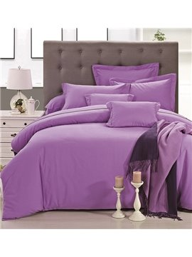 Elegant Noble Pure Purple 4-Piece Duvet Cover Sets