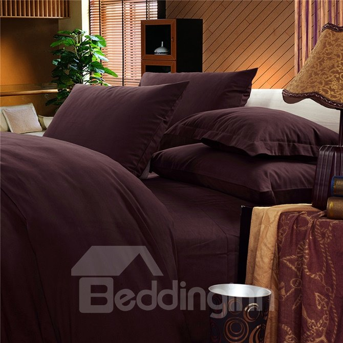 Luxury Solid Brown Cotton 4-Piece Duvet Cover Sets
