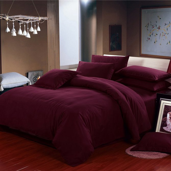 Super Cozy Pure Wine Red 4-Piece Duvet Cover Sets