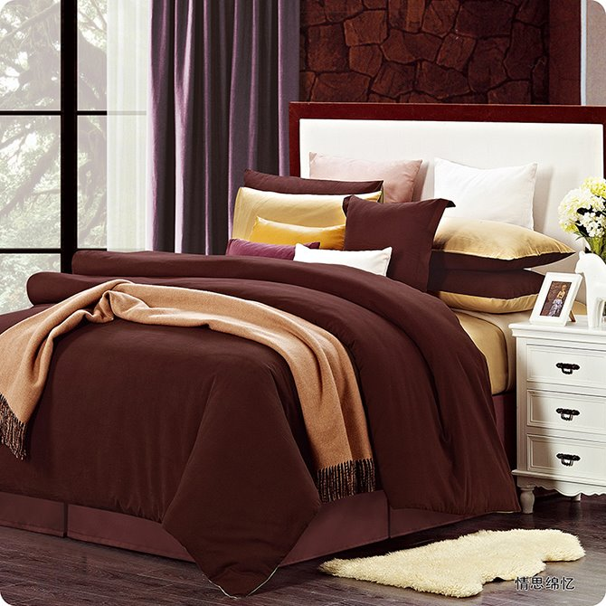 Modern Reversible Pure Colored 4-Piece Duvet Cover Sets