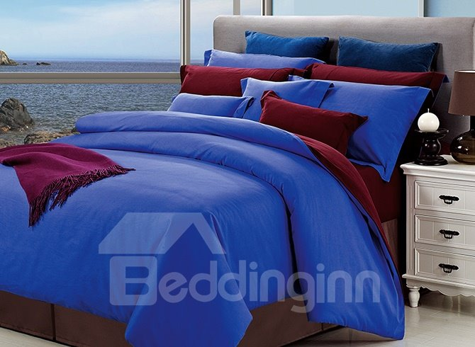 Reversible Gorgeous Solid Color 4-Piece Cotton Duvet Cover Sets