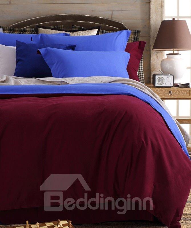 Reversible Gorgeous Solid Color 4-Piece Cotton Duvet Cover Sets