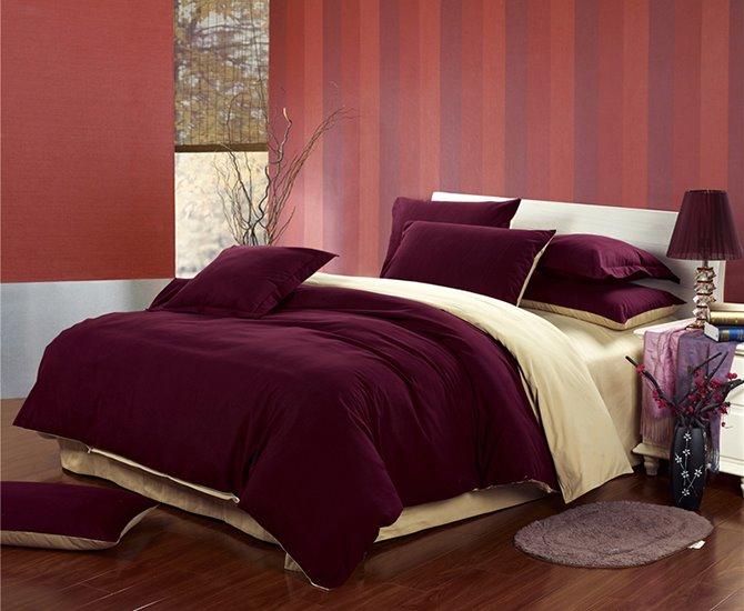 Stylish Reversible Solid Color Cotton 4-Piece Duvet Cover Sets