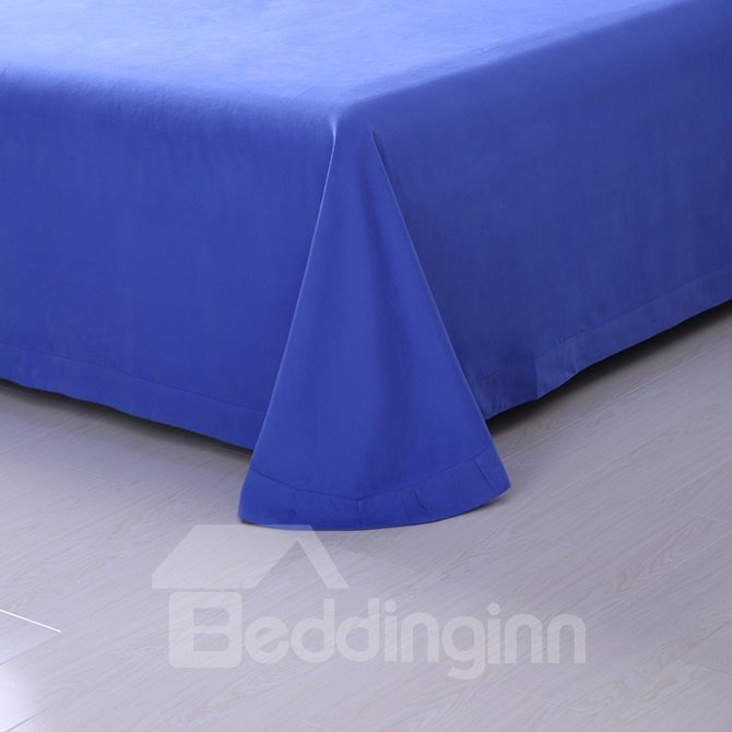 Convenient Hidden Zipper Design Graceful Pure Blue 4-Piece Duvet Cover Sets