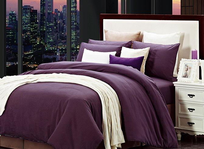 Deluxe Royal Purple Cotton 4-Piece Duvet Cover Sets