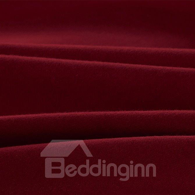 New Style Reversible Pure Color 4-Piece Cotton Duvet Cover Sets