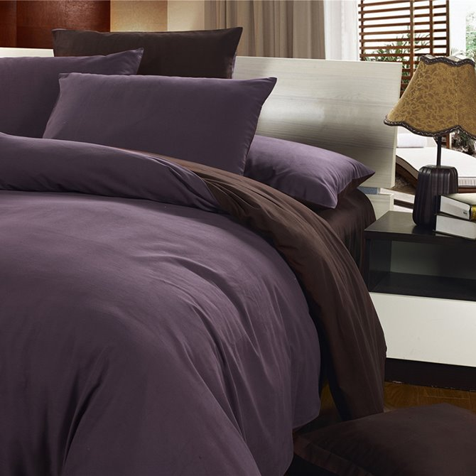 Durable Reversible Solid Color Style Cotton 4-Piece Duvet Cover Sets