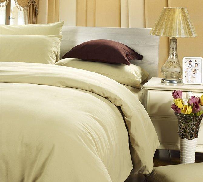 Fancy Pure Beige 4-Piece Cotton Duvet Cover Sets
