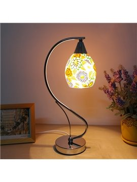 Modern Romantic Sunflower Glass Shade 1-Light Table Lamp