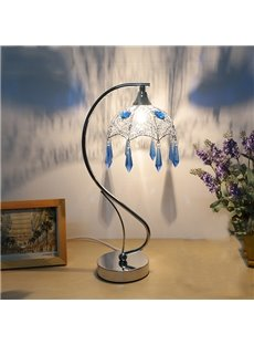 Creative Decorative Umbrella Design Crystal Tassel Bedside Table Lamp