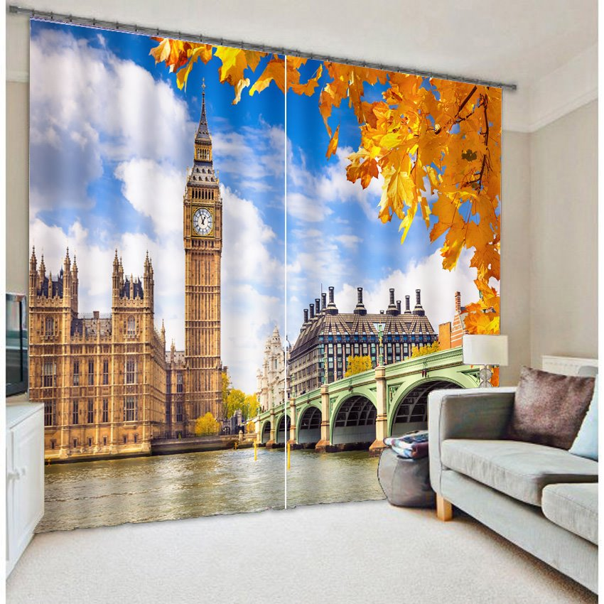 Classic Big Ben 3D Scenery Blackout Curtain