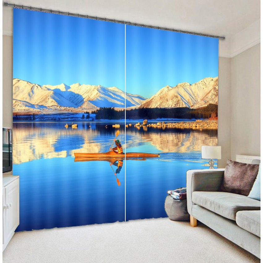 High Quality Sea Boat Print 3D Blackout Curtain