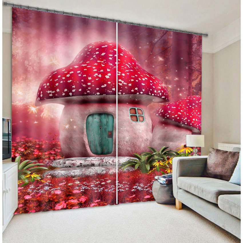 Cartoon Mushroom Print 3D Blackout Curtain