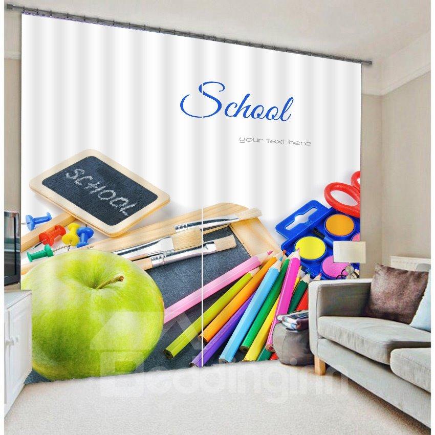 School Stationery Print 3D Blackout Curtain