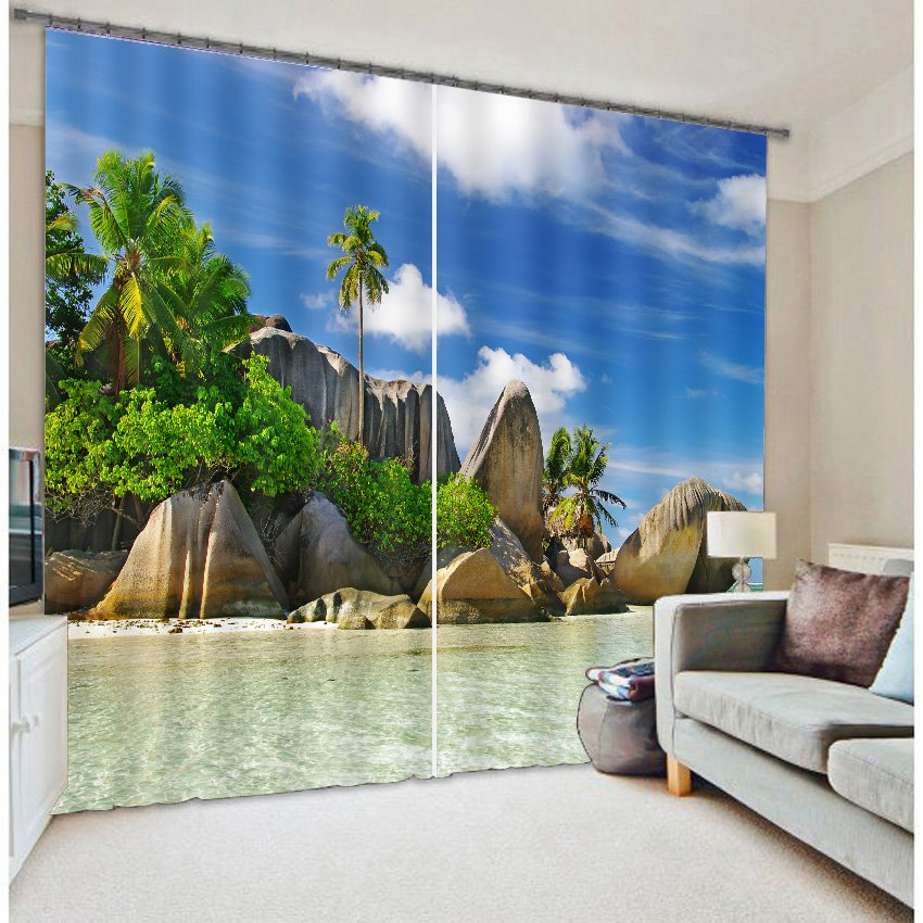 Beautiful Seaside 3D Scenery Light Blocking Curtain